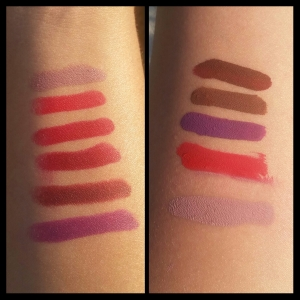 Lippie Stix on the left(Top to bottom): Tootsie, Bossy, Bitchette, Blood, Dalia, and Leather. Ultra Matte Lippies (Top to Bottom): LAX, Limbo, Zipper, Creeper, and Trap.